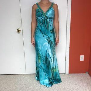 Light Blue Satin Print Gown